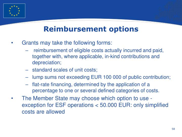 Reimbursement options