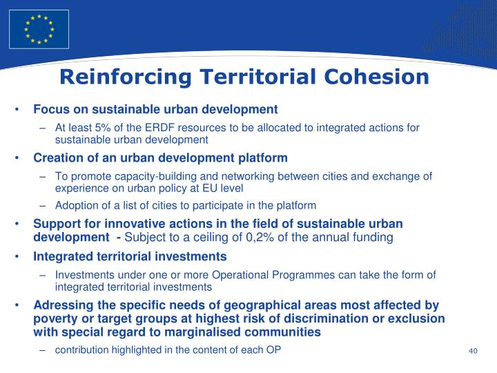 Reinforcing Territorial Cohesion