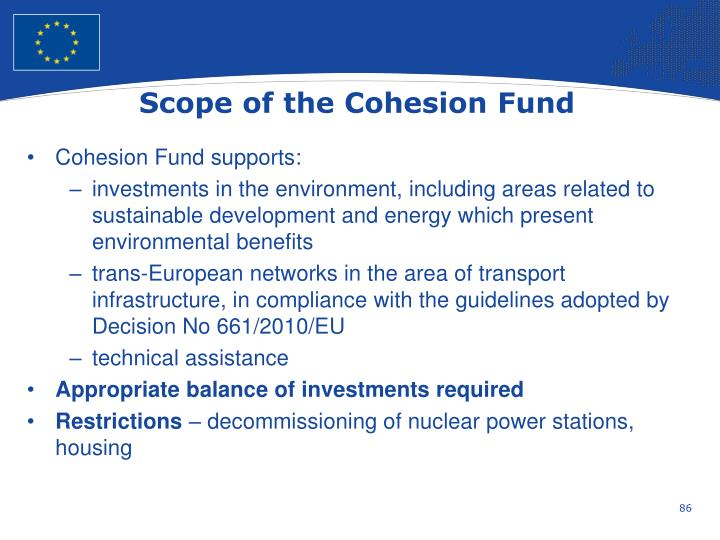 Scope of the Cohesion Fund