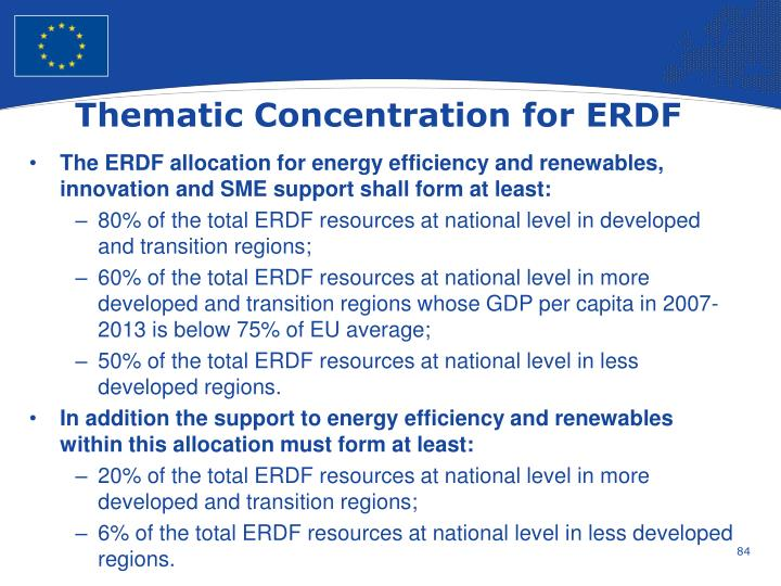 Thematic Concentration for ERDF