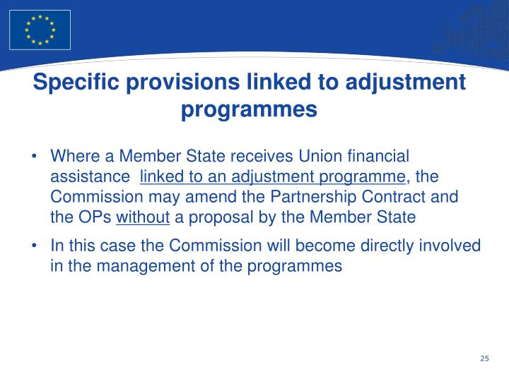 Specific provisions linked to adjustment programmes
