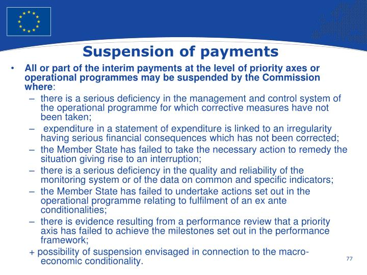 Suspension of payments