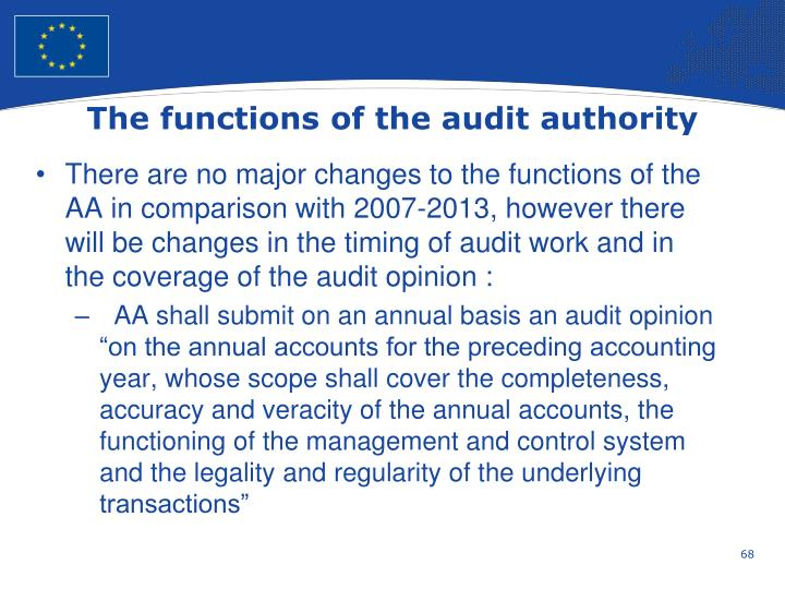 The functions of the audit authority