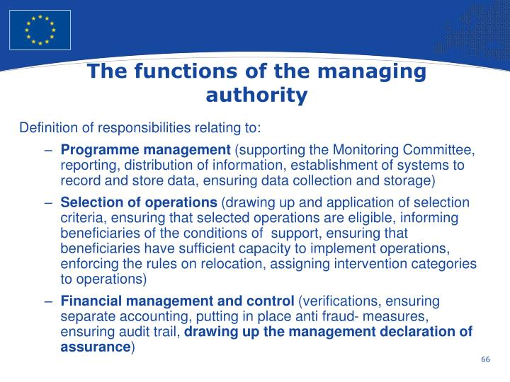The functions of the managing authority