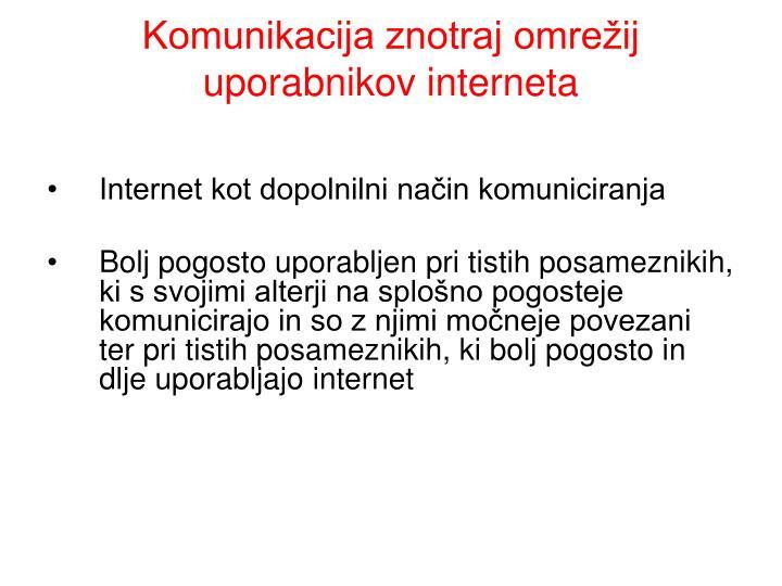 Komunikacija znotraj omrežij uporabnikov interneta