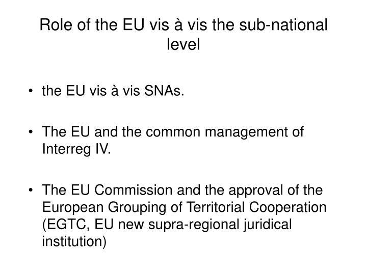 Role of the EU vis à vis the sub-national level