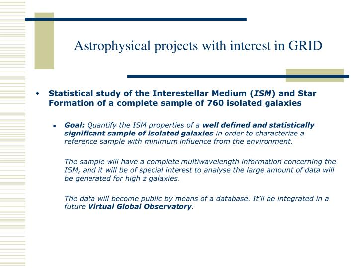 Astrophysical projects with interest in GRID