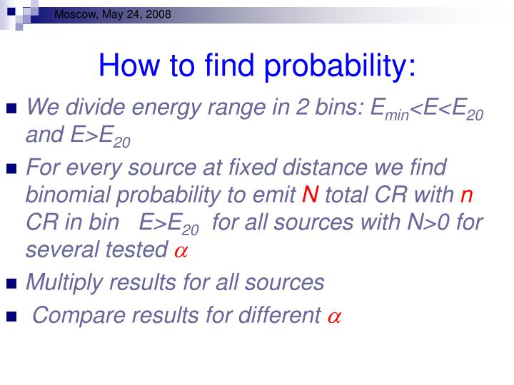 How to find probability: