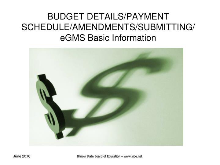 BUDGET DETAILS/PAYMENT