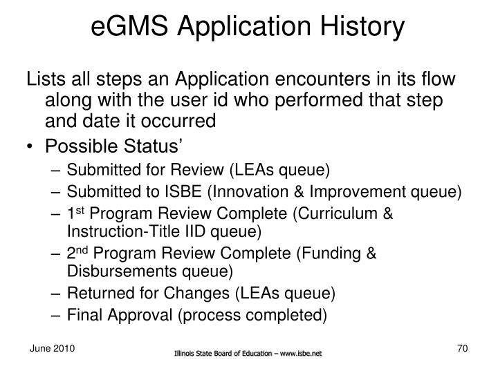 eGMS Application History
