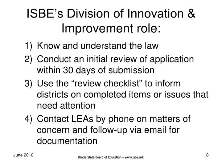 ISBE's Division of Innovation & Improvement role: