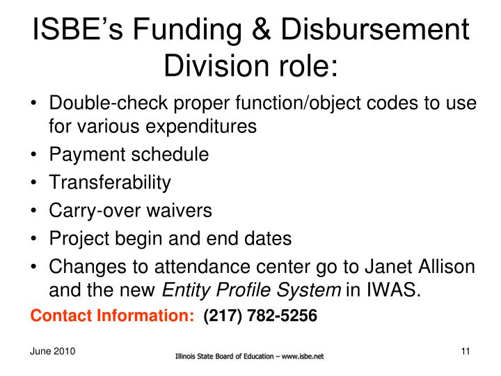 ISBE's Funding & Disbursement Division role: