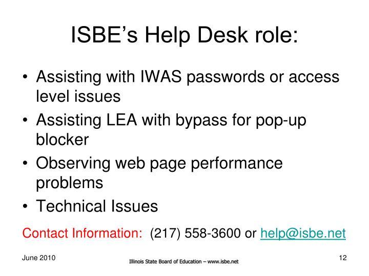 ISBE's Help Desk role: