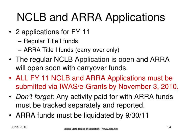NCLB and ARRA Applications