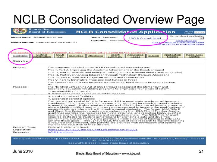 NCLB Consolidated Overview Page