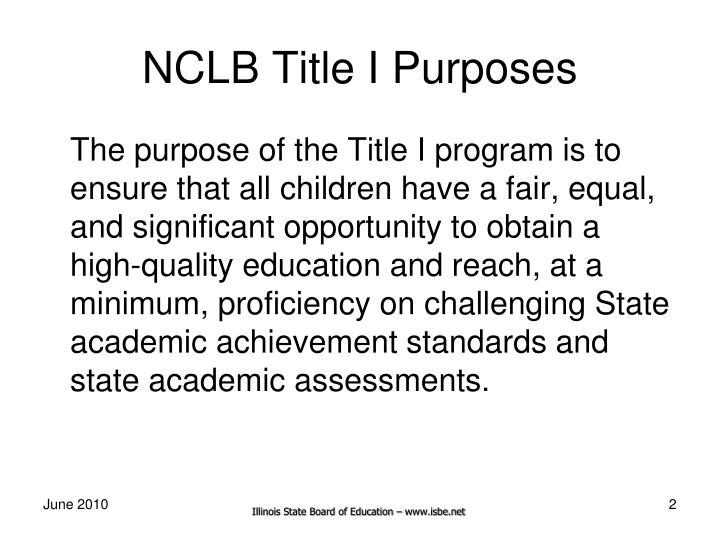 Nclb title i purposes