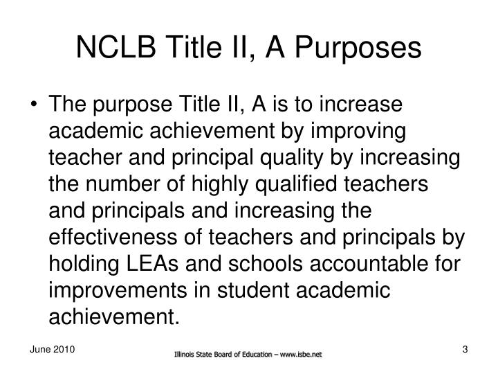 Nclb title ii a purposes