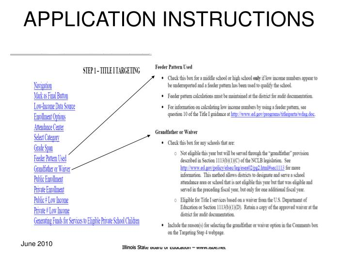 APPLICATION INSTRUCTIONS
