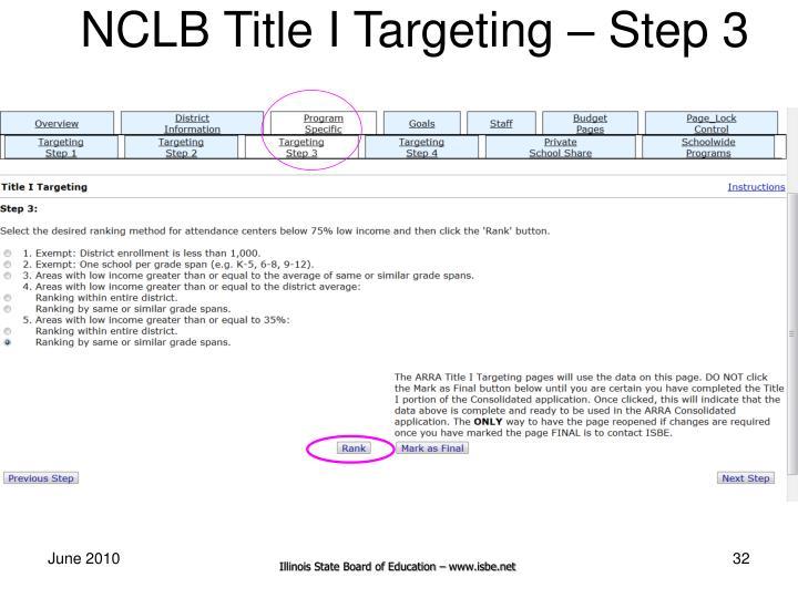 NCLB Title I Targeting – Step 3