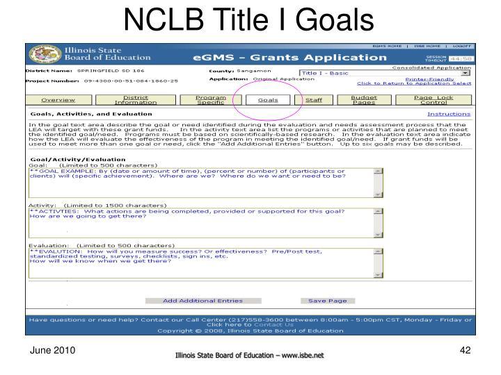 NCLB Title I Goals