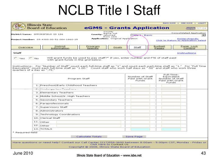 NCLB Title I Staff
