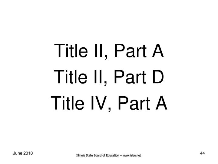 Title II, Part A