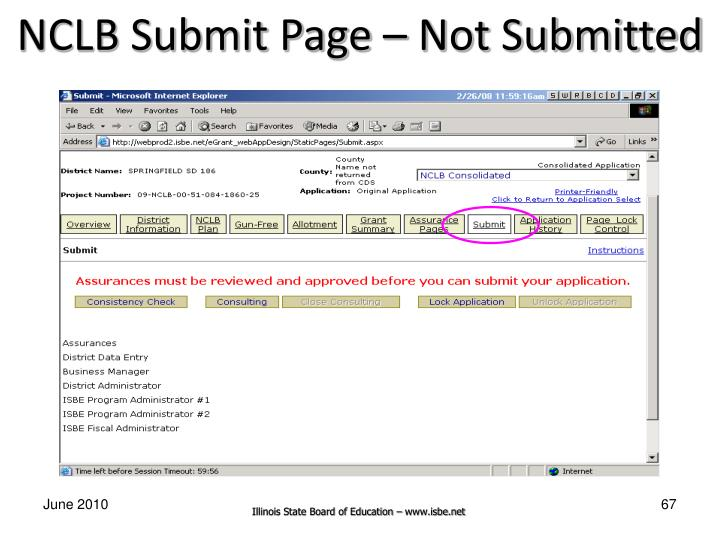 NCLB Submit Page – Not Submitted