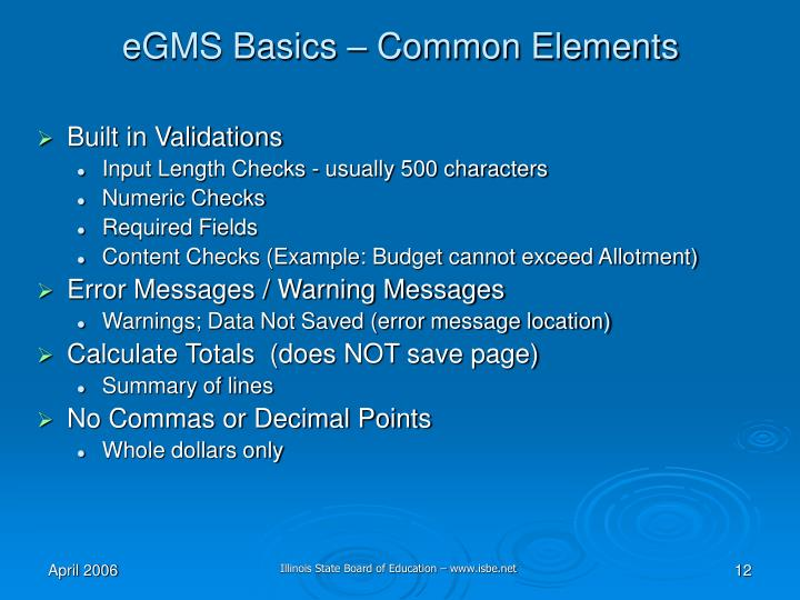 eGMS Basics – Common Elements