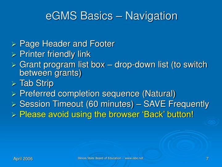 eGMS Basics – Navigation