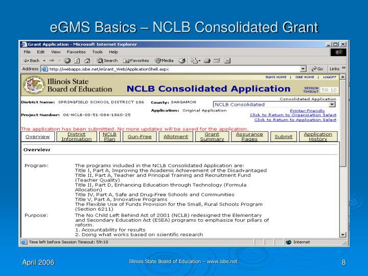 eGMS Basics – NCLB Consolidated Grant