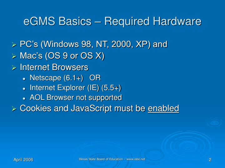 Egms basics required hardware