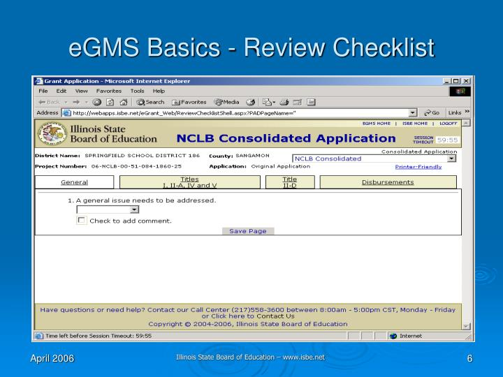 eGMS Basics - Review Checklist