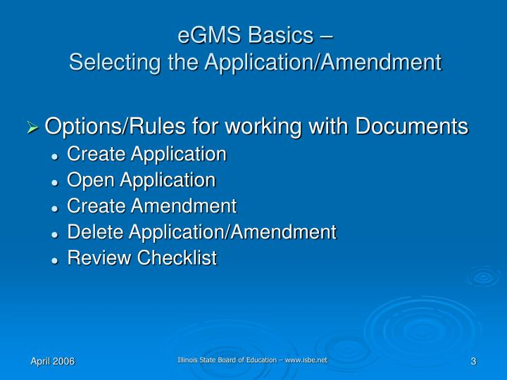 Egms basics selecting the application amendment