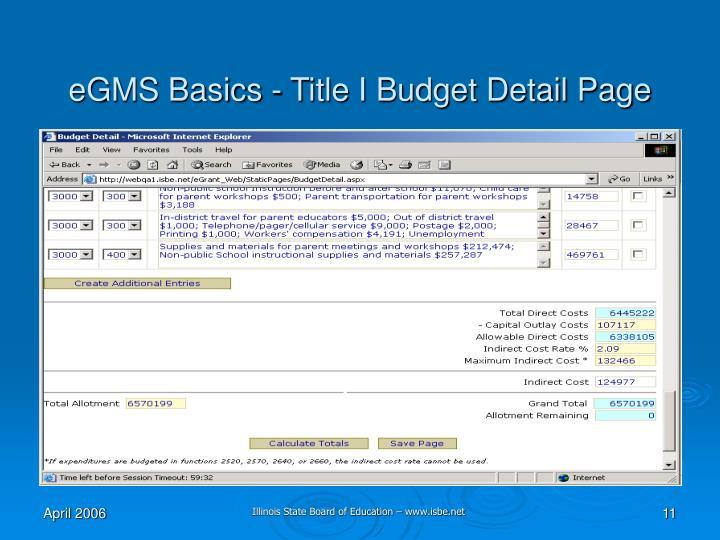 eGMS Basics - Title I Budget Detail Page