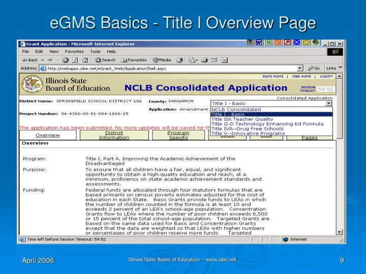 eGMS Basics - Title I Overview Page
