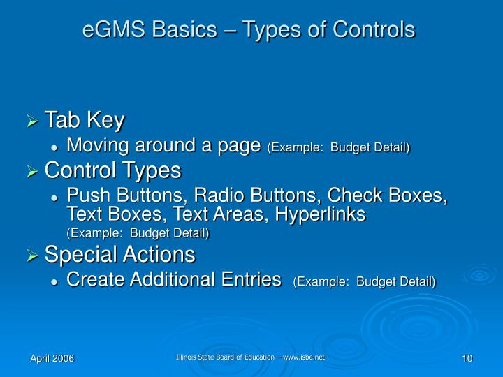eGMS Basics – Types of Controls