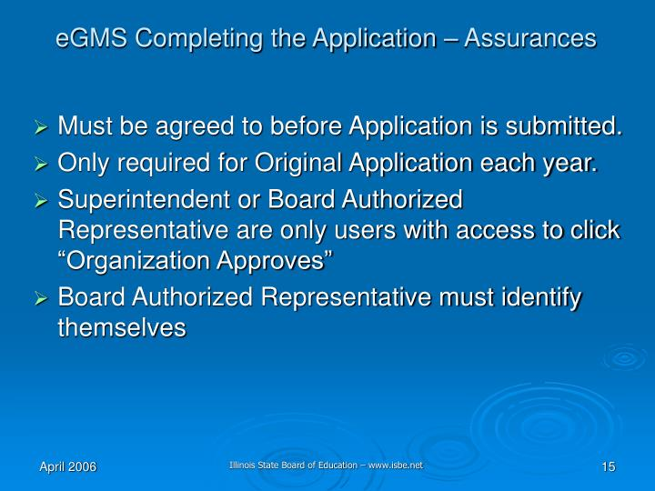 eGMS Completing the Application – Assurances