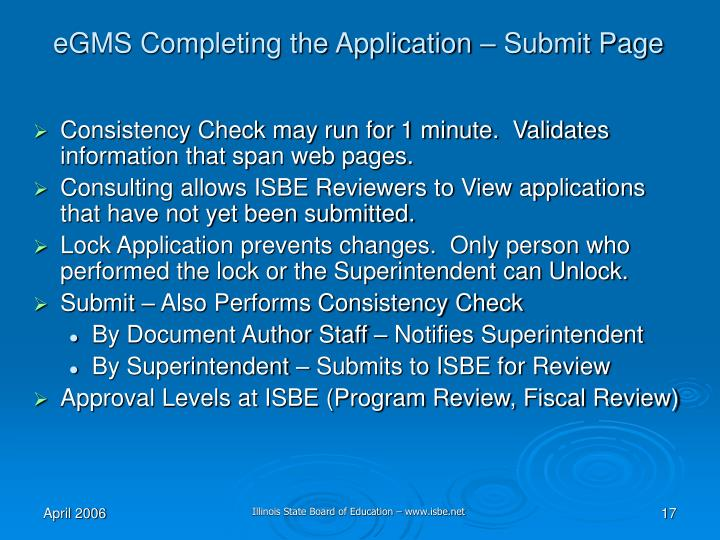 eGMS Completing the Application – Submit Page