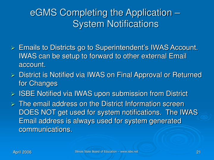 eGMS Completing the Application –