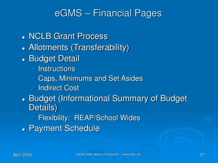 eGMS – Financial Pages