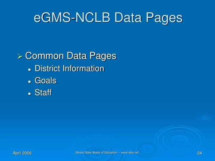 eGMS-NCLB Data Pages