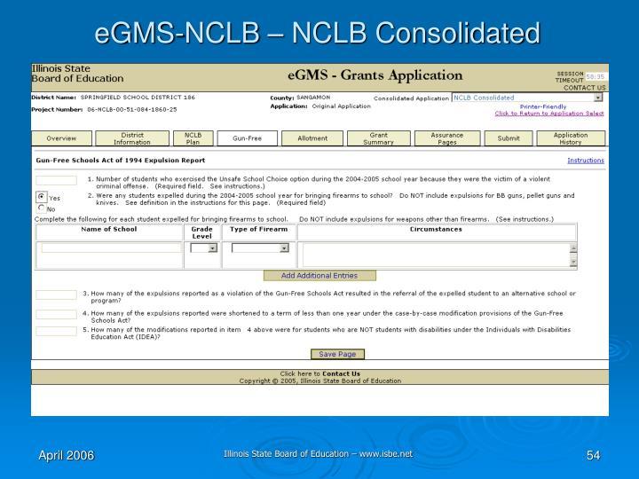 eGMS-NCLB – NCLB Consolidated