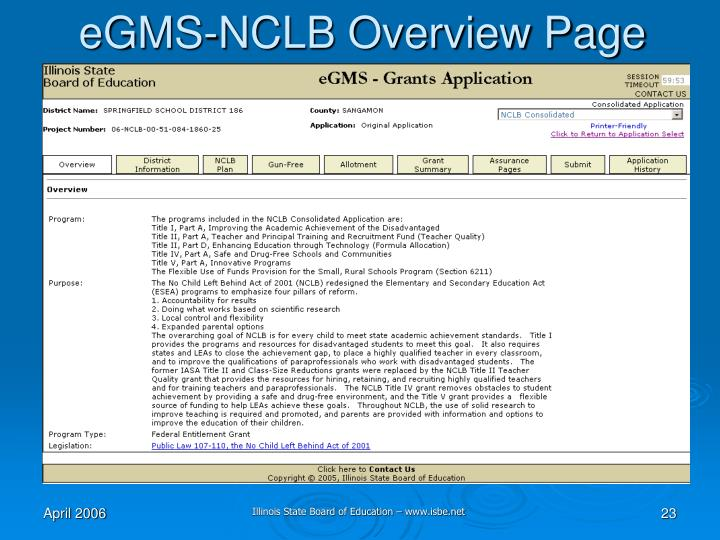 eGMS-NCLB Overview Page