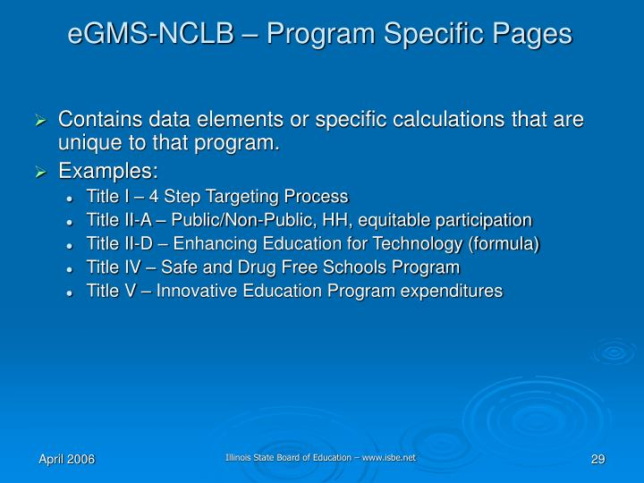 eGMS-NCLB – Program Specific Pages