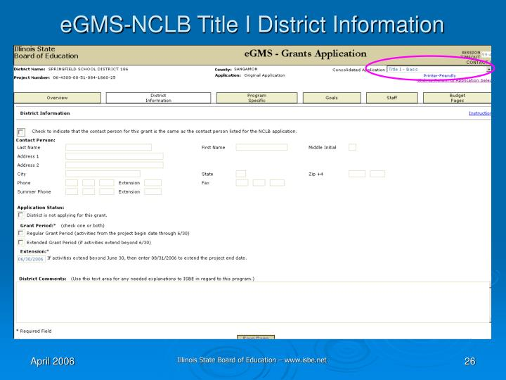 eGMS-NCLB Title I District Information