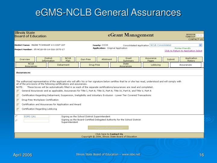 eGMS-NCLB General Assurances