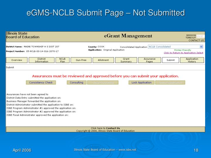 eGMS-NCLB Submit Page – Not Submitted