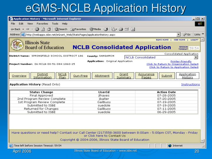 eGMS-NCLB Application History