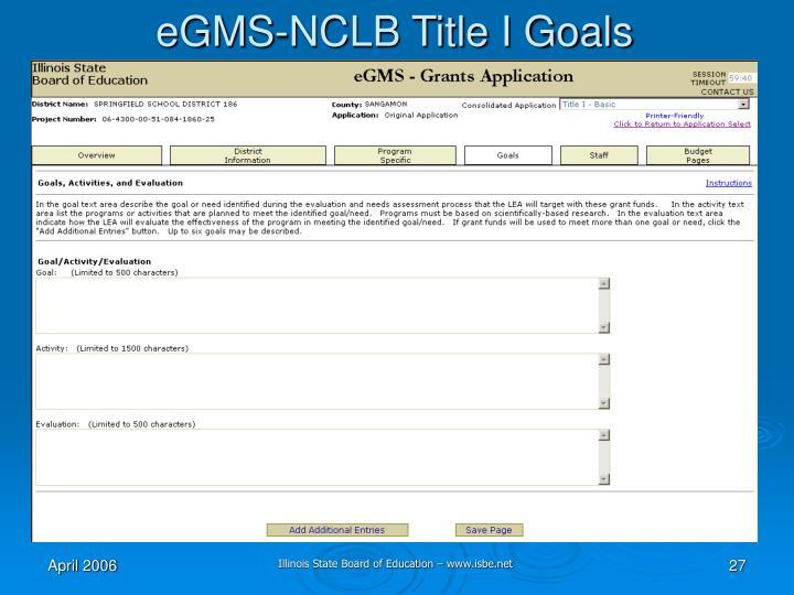 eGMS-NCLB Title I Goals