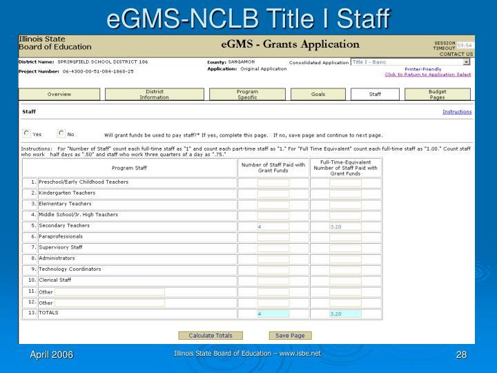 eGMS-NCLB Title I Staff